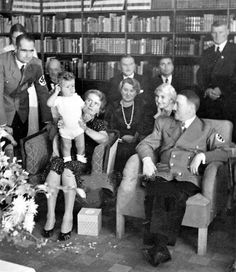 Interesting private photo of Hitler with the Hess family. Hitler was definitely not that fond of Hess's wife, Ilse. Nor was he fond of Emmy Goering. On the other hand, he adored the wives of Goebbels, Brandt and Speer. (via putschgirl)