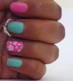 Barry M Mint Green and Bright Pink Nail Art by Nailtart.com