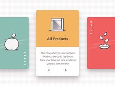 Hi fellows,  Trying new layouts for the current e-commerce project. Cards option to navigate through various collections of food: all, fresh, dried, frozen and liquid. Each card in front position w...