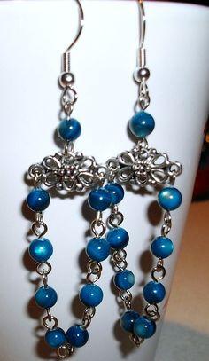 Blue Rivershell Chandelier Earrings by mwadsworth on Etsy, $3.00