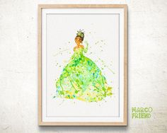 Tiana Princess and the Frog - Watercolor, Art Print, Home Wall decor, Watercolor Print, Disney Princess Poster