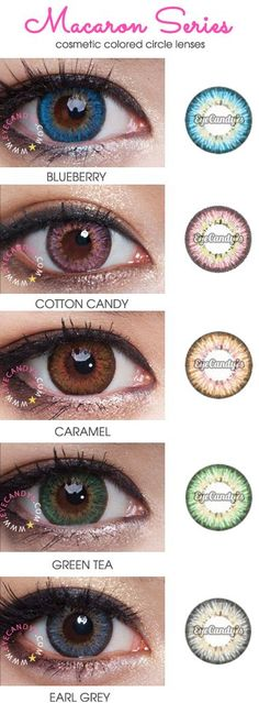 Royal Vision Macaron Series (14.5mm) circle lenses (coloured contacts). Vibrant, dense coloration and natural 3 tone design will give you a refreshing look. Everyone will be spellbound by your mesmerising gaze! Available in Blue, Pink, Brown, Grey, Green and Violet. Shop now: http://www.eyecandys.com/macaron-puffy-series-14-5mm/