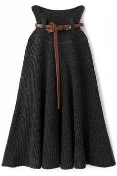 Essential Solid Medi Knit Skirt
