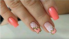 Cute Nail Art, Cute Nails, Pretty Nails, Nail Manicure, Diy Nails, Vintage Nails, Diy Nail Designs, Flower Nail Art, Perfect Nails