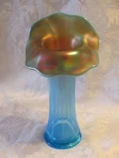 "9 ¾"" Tall Westmoreland Wide Panel J.I.P. Vase – Blue Opal. (very scarce item; great opal.; irid. nice at top)"