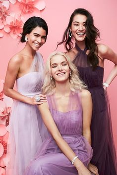 Convertible bridesmaid dresses let your friends customize their looks. Shop even more colors, lengths, and fabrics at davidsbridal.com.