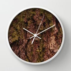 Bark Modern Wall Clock Brown Black Green by PhotographybyLadybug, $50.00