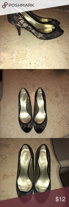 Guess lace peep toe high heels Guess lace peep toe high heels, black lace with beige underlay, wear only on bottoms of shoes(see pic) Guess Shoes Heels