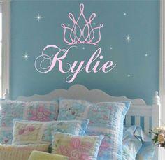 Princess Crown Name Wall Decal Girl Sparkley Stars