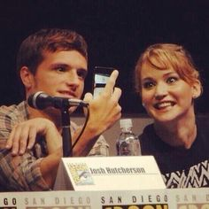 These two hooligans taking a selfie during the Catching Fire panel haha