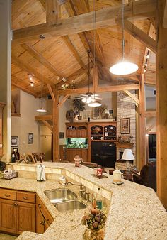 Full Timber Frame Home - Nice full view kitchen