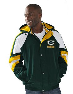 Team color blocked full zip jacket with detachable hood. Tackle twill embroidery applique. Shell: 100% nylon dry touch taslan. Lining: Poly taffeta quilted with polyfill. Officially licensed by G-III, standard men's sizes. #greenbaypackers #packers #nfl