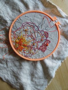 abstract embroidery in progress, rebecca ringquist