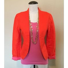 Linen (Orange) Jacket sz 2 NWOT Linen (Orange) Jacket sz 2 NWOT by LOFT ☀️ It's brand new, without tags, never been worn. The shell is 100% linen and the lining is 100% cotton. The tank-top and necklace are NOT included, sold separately.                                            NO TRADES NO PAYPAL LOFT Jackets & Coats Blazers