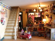 "dollhouse miniature toy rooms | toy chest and a furnished doll house in 1/144"" scale are featured in ..."