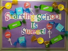 Elementary Library Decoration Themes | Starting School Is Sweet Bulletin Board - MyClassroomIdeas.com......... ..............Reading is Sweet!!!!!!!