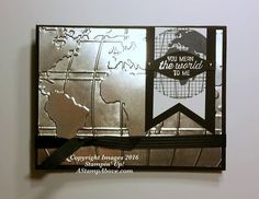 """By Kelly Acheson. She used the Stampin' Up """"World Traveler"""" embossing folder with a silver foil sheet. Stamp set is """"Going Global."""" Complete directions on her website. Masculine Birthday Cards, Birthday Cards For Men, Masculine Cards, Card Making Inspiration, Making Ideas, Nautical Cards, Retirement Cards, Travel Cards, Embossed Cards"""