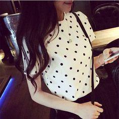 2016 summer women polka dot blouses blusas mujer korean clothing blusa social feminina camisa blouse chemise femme shirts