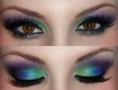 oooh pretty!Amy- you can do this with the eye shadows I gave you @ Xmas....  Peacock eyes!
