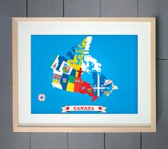 Canada Map design made with Provinces and territories flags ART PRINT (various sizes available - 11x14 - 20x30 inches)