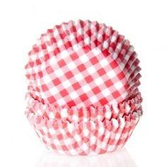 Cápsulas de papel Gingham Red - pk/50. 50 cápsulas para hornear de House of Marie con un bonito diseño que aporta a sus cupcakes una imagen especial.