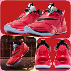 Nike Adapt BB Chicago GE: The vast majority of its structures are doused in vivid red and comprise accompanying strikes of black accents . Nike Sneakers, Sneakers Fashion, Nike Shoes, High Top Sneakers, Cool Nikes, March 14th, Nike Tech, Retro Shoes, Black Accents