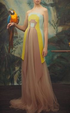 Crepe and Tulle Long Dress by Delpozo Pre-Fall 2018