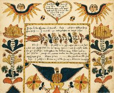 PENNSYLVANIA SCHOOL, 19th century  Fraktur  A Birth and Baptismal Certificate for Abraham Grase, date 1802  watercolor and ink on paper