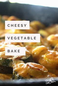 A one skillet side dish featuring garden fresh zucchini and yellow summer squash. Easy and delicious, our Cheesy Vegetable Bake is a must try! buythiscookthat.com/cheesy-vegetable-bake/ #side #recipe #easy #oneskillet