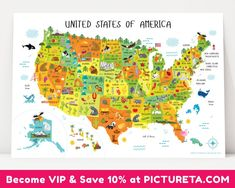 Cute and personalized USA map for kids poster will make a unique baby gift, playroom decor or nursery decor. The detailed map of USA features names of 50 USA st
