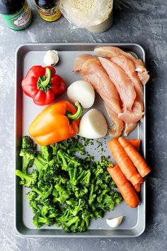 "Sheet Pan Chicken ""Stir Fry"" - Just one pan and 30 minutes is all you will need to make this amazing meal! Skip the wok and make this quick and healthy chicken stir fry dinner in the oven!"