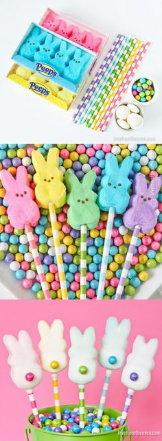 Easy Easter Bunny Pops.  These are so quick, cute and easy.  Great for Easter treats, and they'd be cute cupcake toppers as well.  Love Peeps!