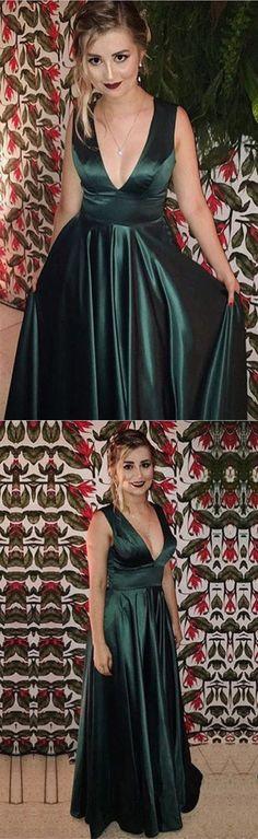 dark green prom dress,v neck prom dress,long evening gown,satin prom dress,elegant prom dress,emerald green prom dress,emerald green evening dress,prom dresses 2018