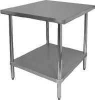"""GSW Commercial Flat Top Work Table with Stainless Steel Top, 1 Galvanized Undershelf & Adjustable Bullet Feet, 24""""W x 24""""L x 35""""H, NSF Approved"""