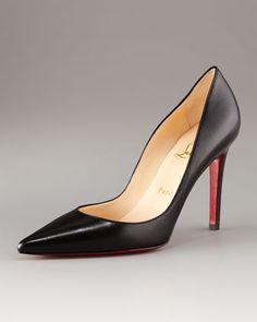 Pointed-Toe Black Leather Pump by Christian Louboutin
