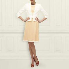 L.K. Bennett's June Cropped Linen Jacket in Cream with June Linen Dress