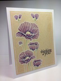 Love this card, the heroarts set. Homemade Greeting Cards, Greeting Cards Handmade, Homemade Cards, Hero Arts Cards, Poppy Cards, Embossed Cards, Friendship Cards, Flower Stamp, Rubber Stamping