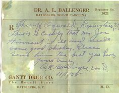 Prescription for Whiskey during Prohibition
