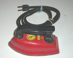 1950's Child's toy tin Electric iron...I can't believe these actually warmed up...Mine was blue