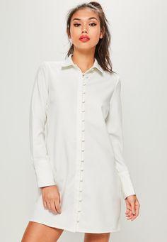 29a1c3f07de10 Dresses   Women s Dresses Online. Missguided - Robe-chemise blanche avec  boutons