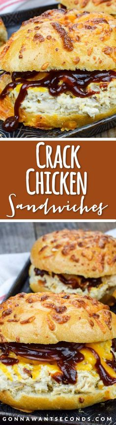 Easy Crack Chicken Recipe (With Video!) This super simple Crack Chicken recipe is cooked in the crockpot and makes the most amazing, creamy, flavorful chicken filling for hearty sandwiches. Slow Cooker Recipes, Cooking Recipes, Cooking Dishes, Cooking Videos, Meat Recipes, Cooking Tips, Kid Cooking, Easy Sandwich Recipes, Thai Cooking