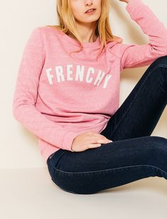 Sweat col rond message Frenchy femme | Bizzbee