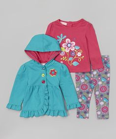 Love this Turquoise Ruffle Swing Coat Set - Infant, Toddler & Girls on #zulily! #zulilyfinds
