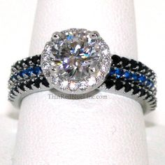 Thin Blue Line Engagement 3 Ring Set | Thin Red Blue Line - Donations made to firefighter and police charities