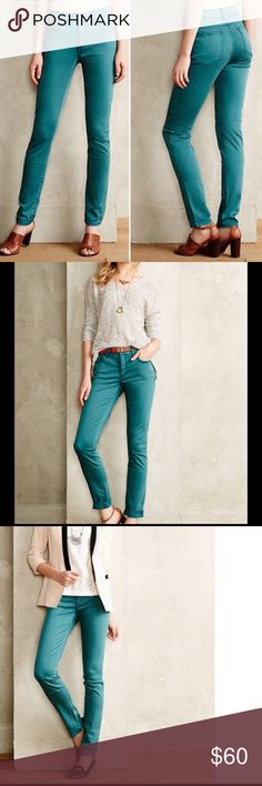 """{Anthropologie} Stet Sateen Ankle Jeans Who said wardrobe staples have to be boring and khaki? Reliable as they are colorful, Pilcro designs inspire layering, mixing-and-matching, and always have a personality of their own. We love this skinny sateen pair as a stand-in for leggings.   By Pilcro Five-pocket styling Cotton, modal, spandex Machine wash 27""""L 8.5"""" rise; 12"""" ankle  NEW WITH TAGS! Anthropologie Pants Ankle & Cropped"""