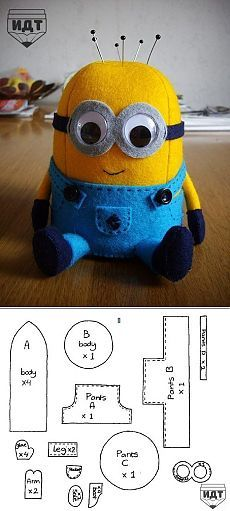 More - Amy Brooks Frugard Minions! More - Amy Brooks Frugard Sewing Toys, Sewing Crafts, Sewing Projects, Sewing Tutorials, Sewing Patterns, Minion Craft, Minion Doll, Minion Pattern, Minion Template