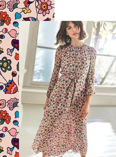 We had versatility in mind when we designed this silk dress. Its neck can be worn undone, or buttoned up for a key-hole effect. Your next decision? Whether to wear it with the self-tie belt for a nipped-in waist, or leave it flowing free. The exclusive in-house print and romantic blouson sleeves will have you turning heads either way.