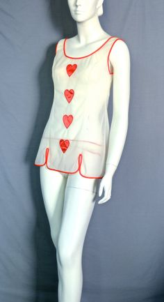 70s Queen of Hearts Shortie Lingerie Set by Blanche - Small - Sexy by RubyInTheDustVintage, $68.00