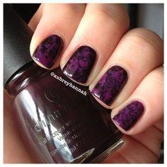 purple saran wrap nails