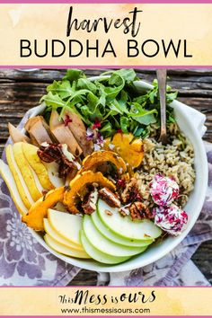 Harvest Buddha Bowl ⋆ This Mess is Ours Best Gluten Free Recipes, Gluten Free Recipes For Dinner, Delicious Dinner Recipes, Yummy Recipes, Side Dishes Easy, Side Dish Recipes, Healthy Eating Recipes, Vegetarian Recipes, Eating Vegetables